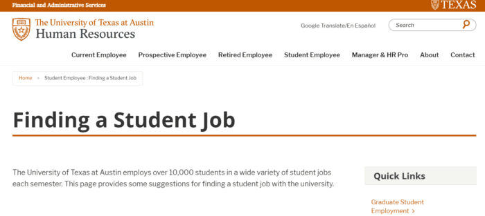 University of Texas Careers Page