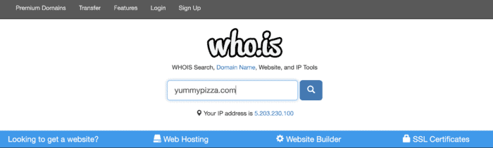 who.is domain search example