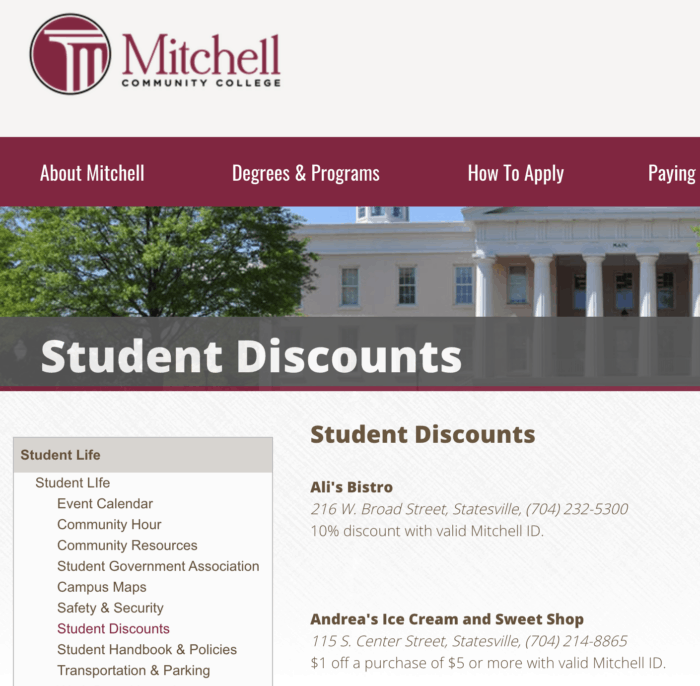 student discount page