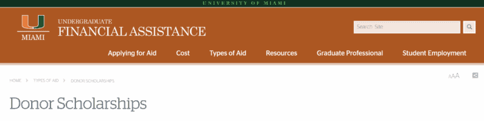 donor scholarship page