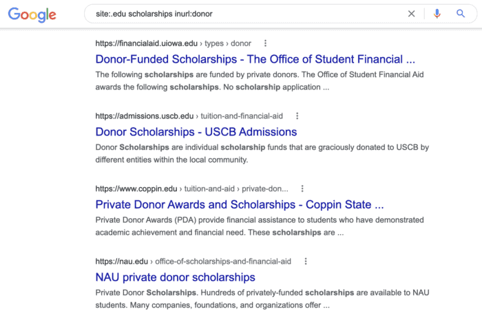 find donor scholarship pages